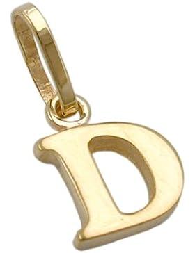 Unbespielt Goldanhänger Unisex Kettenanhänger Anhänger für Halskette Buchstabe D aus 375 9 kt Gold 8 x 6 mm inkl...