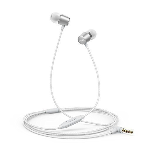 Kopfhörer Anker SoundBuds Verve in-Ear Kopfhörer Kabelgebunden mit Mic/stark Bass/physikalischer Geräuschreduzierung/3,5mm Klinkenbuchse für iPhone/iPad/Sumsung Smartphones, Tablets, PC und weitere(Silber)