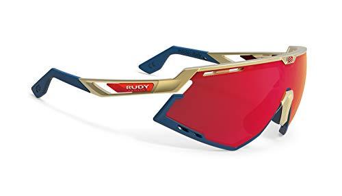 Rudy Project Defender Glasses RP Optics Multilaser Red 2019 - Gafas de Ciclismo, Color Dorado y Azul Marino