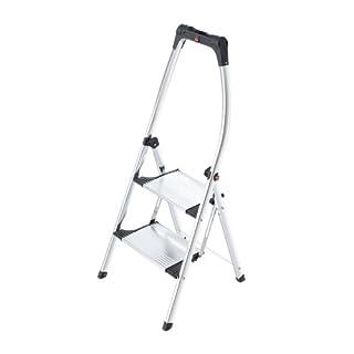 Hailo LivingStep Comfort Plus, Alu-Klapptritt, 2 Stufen, hoher Sicherheitshaltebügel, Füße mit Soft-Grip-Sohlen, belastbar bis 150 kg, 4302-301