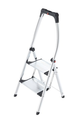 Hailo K100 TopLine Komfort-Trittleiter, 2 Stufen, hoher Sicherheitshaltebügel, Füße mit Soft-Grip-Sohlen, belastbar bis 150 kg, silber, 4303-201