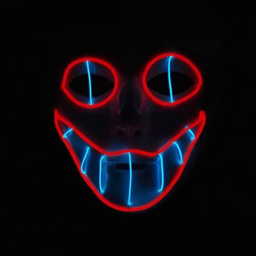 Qtiwe Halloween Maske LED Beleuchtung erschreckend Maske mit Schlangenauge EL Draht Leuchtmaske Fest Karneval Kostüm Cosplay (Rot+Blau)