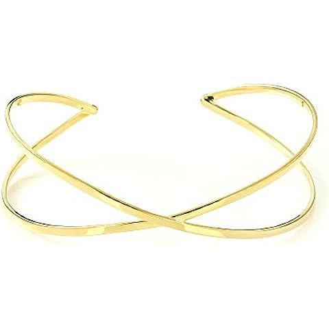 Mgd, gran cruz de 26mm Wire Arm Cuff Pulsera ajustable–Tensiómetro de brazo, tono dorado latón, una talla para todos, joyería de moda para las mujeres,