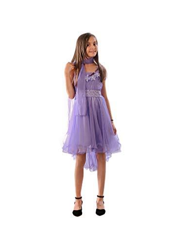 Miss Aylan Festliches Mädchen Kleid mit Stola Strass Perlen Blumen Prinzessinnenkleid M534fl Flieder 116