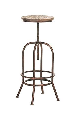 CLP Tabouret de bar TUDOR, style industriel, stable, mélange de bois et métal, hauteur réglable 67 - 84 cm bronze