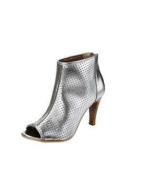 heine Metallic Schuhe Damen Echtleder-Stiefelette Absatz-Schuhe Silber 2527 Silberfarben