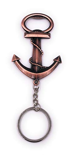H-Customs Anker mit Seil Flaschenöffner Schlüsselanhänger Anhänger aus Metall Bronze (Custom Mit Flaschenöffner Schlüsselanhänger)