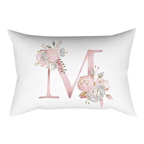 Gokomo lettere in polvere oro rosa cuscino decorativo per bambini in camera da letto per bambini federa per cuscino 30x50cm(m,30x50cm)