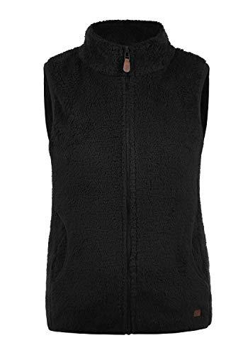 DESIRES Theri Damen Fleece-Weste Teddyfleece Weste Mit Stehkragen, Größe:XL, Farbe:Black (9000)