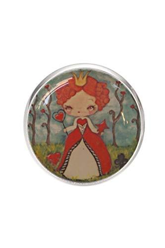 Edelstahl Brosche, Durchmesser 25mm, Stift 0,7mm, handgemachte Illustration Königin der (Königin Der Herzen Alice)