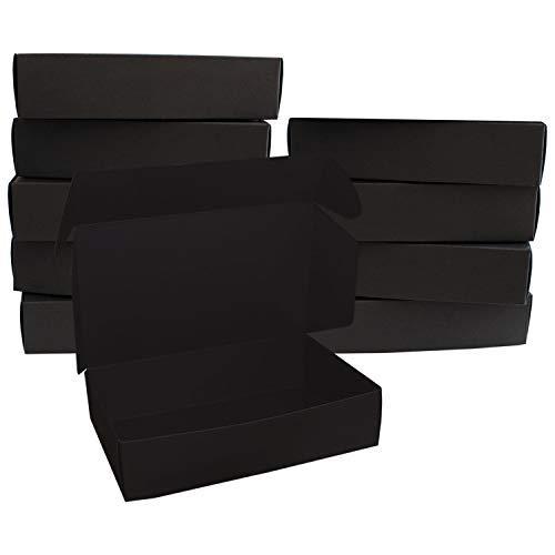 Kurtzy 19 x 11 x 4,5 cm Karton Geschenk Boxen 10er- Pack - Schwarze flache Geschenkboxen verwendbar für Partys, Veranstaltungen, Hochzeit - Aufbewahrungsbox für Kuchen, Kekse und Schmuck