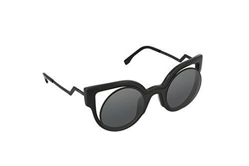 Fendi Damen FF 0137/S CN NT2 Sonnenbrille, Schwarz (Matte Shiny Black/Dark Grey Sparkling), 49