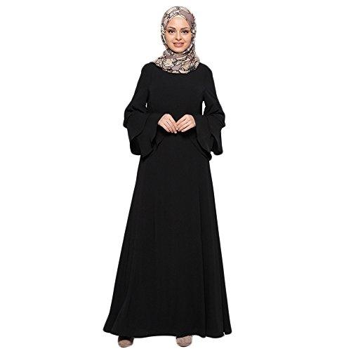 Muslimische Knöchellang Kleid Tunika mit Rüsche Langarm Casual Maxikleid Abendkleid Gewand Damen...