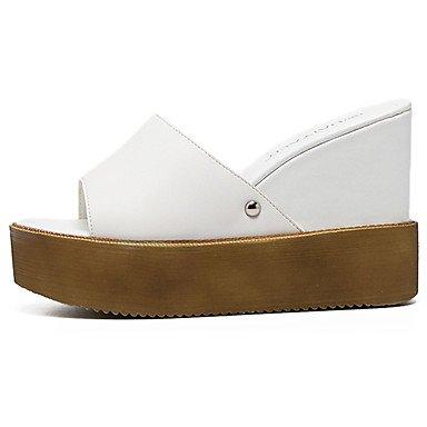 LvYuan sandali club estivo pu vestito zeppa costellato White
