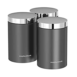 Morphy Richards Accents Kitchen Storage Canisters, Stainless Steel, Titanium, Set of 3
