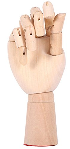 "12"" 30cm Right Hand Wooden Body Artist Model Jointed Articulated Flexible Fingers Wood Sculpture Mannequin Model"