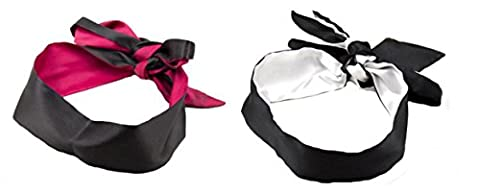 WODISON Sexy Satin Blindfold Sleeping Mask Eye For Role Play (Pack de 2) (Noir)