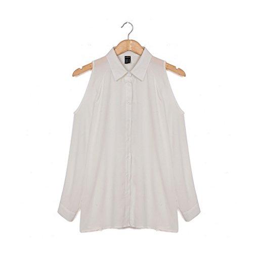 Smile YKK Stehkragen Damen Casual Chiffon T-Shirt Langärmeligshirt Oberteil Top Blusen Hemd Pullover Weiß