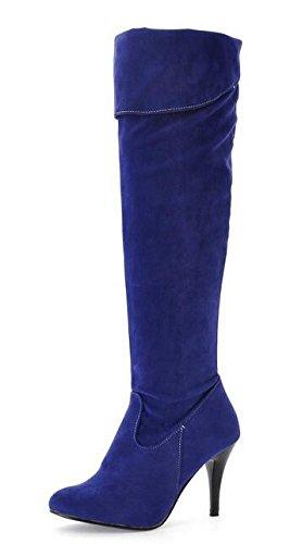 printemps automne bottes femmes bottes de genou bottes Chevalier bleu nubuck