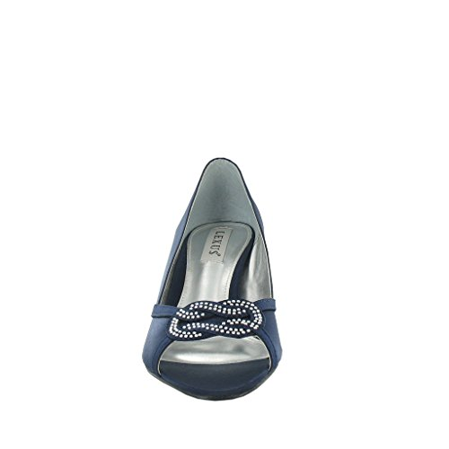Pour Lexus escarpin avec strass incrustés Peep Toe et Design. Bleu - Bleu marine