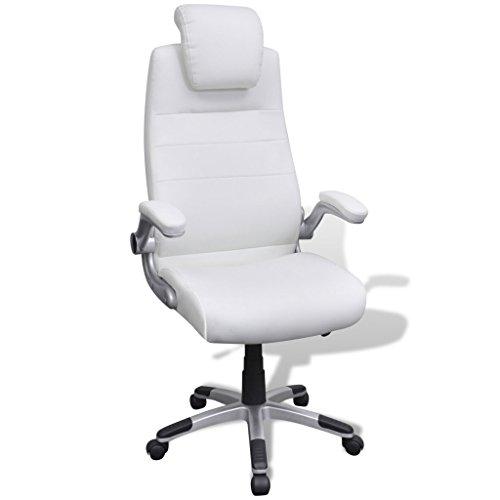 vidaXL Silla Blanca Giratoria Y Ajustable De Cuero Artificial Oficina Salón