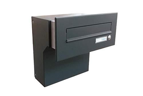 F-04 Anthrazit (RAL 7016) Mauerdurchwurf Briefkasten mit Klingel (Tiefe: 19-27 cm) - LETTERBOX24.de