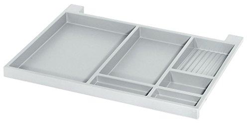 Tablarauszug Schreibtisch Utensilien-Auszug Schubladen-Schiene Vollauszug - Modell NINKA | 566 x 390 x 36 mm | Schreib-Tischauszug: weißgrau | Möbelbeschläge von GedoTec®