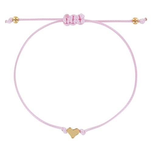 StarAppeal Herz Freundschaftsarmband, Armband mit Perlen in Silber und Gold mit hochwertiger Wachsschnur gefertigt, Damen, Mädchen Armband (Rosa-Gold) (Armband Gold Kind)