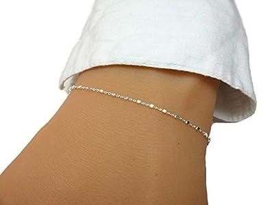 Bracelet chaine - Argent - Chaine petites perles carrées - Bracelet minimaliste fin - Cadeau femme fille