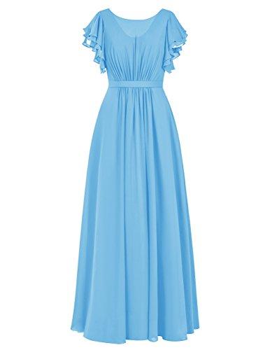 Dresstells Robe de demoiselle d'honneur Robe de cérémonie en mousseline forme empire longueur ras du sol Bleu