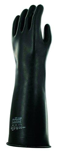 Ansell Emperor ME105 Gants en latex de caoutchouc naturel, protection contre les produits chimiques et les liquides, Noir, Taille 7.5 (Sachet de 1 paire)