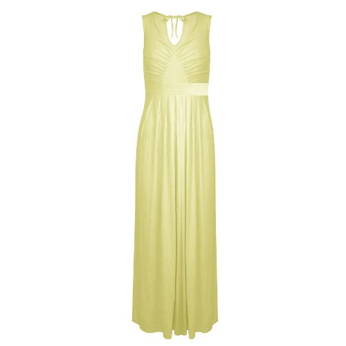 Pure Fashion Damen Maxikleid Ärmellos Mehrfarbig Yellow - Keyhole Back Elasticated Waist