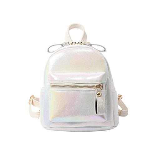 Fenical Mini-Rucksack Version Perlenmuster glänzend Schultertasche Simple Persönlichkeit Wild Girl Small (weiß)