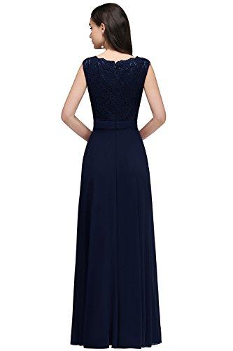 MisShow® Damen Elegant A-Linie Chiffon Abendkleid Ballkleid Cocktailkleid lang EU 32-46 Navy Blau