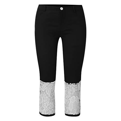 NPRADLA Damen Capri Sommer Elastic Lace Patchwork Denim Shorts Slim Fit Lässige Cropped Hose Damen Skinny Hipster Jeans -