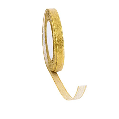 joyliveCY Metallic Organzaband Weihnachten Wrap, gold, 1 cm (Band Silber Wrapping)