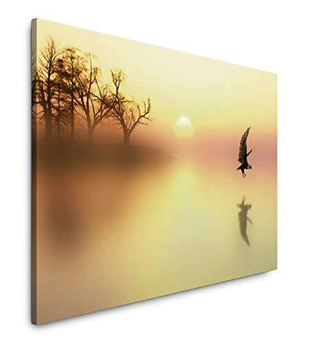 Paul Sinus Art Vögel in Landschaft 180 x 120 cm Inspirierende Fotokunst in Museums-Qualität für Ihr Zuhause als Wandbild auf Leinwand in XXL Format -