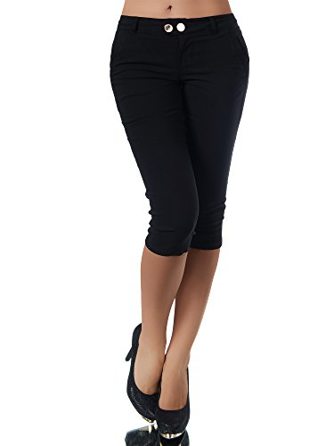 Diva-Jeans Damen Caprihose Treggings Leggings Stoffhose Sommerhose Knielang 3/4 Capri N827, Farben:Schwarz, Größen:S