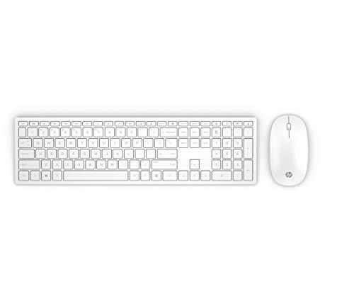 HP Pavilion 800 Tastiera e Mouse Wireless, Sottile e Leggera, Tre Zone con Tasti Freccia, Bianco [Layout Italiano]