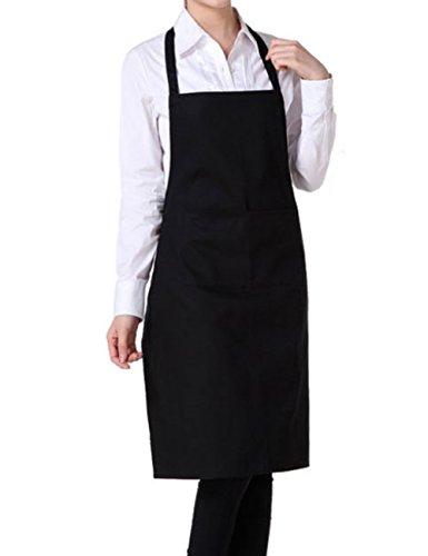 Vi.yo Bavoir Tablier Chefs Tablier avec 2 Poches pour Maison Cuisine Restaurant Noir Maison Unisexe Réglable Cuisine Cuisine Vêtements de Travail