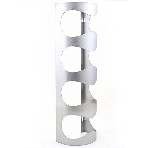 NACHEN Weinregale An Der Wand Befestigtes Edelstahl-Metall 4 Flaschen Halter,Silver,14X10x45cm