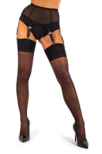 sofsy Sheer Oberschenkel Strapsstrümpfe Strumpfhose für Strumpfgürtel und Hosenträger Gürtel Plain 15 Den [Hergestellt in Italy] (Strumpfgürtel separat erhältlich!) Black 2 - Small