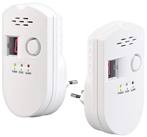 VisorTech Gaswarner: 2er-Set Steckdosen-Multi-Gasmelder für Erdgas und Autogas, 85 dB (Gasmelder Camping)