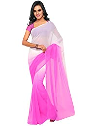 Aruna Sarees Women's Chiffon Saree With Blouse Piece (Pink And White)