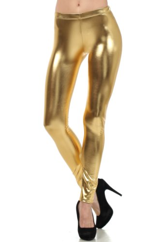 Sakkas Liquid111 Footless Flüssigkeit Wet Look Shiny Metallic Stretch Leggings - Gold/Small - Länge Leggings Footless Tights