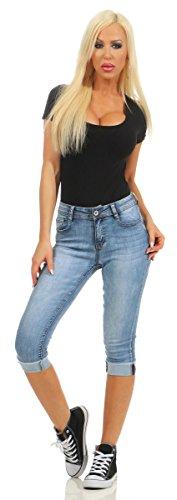 5978 Fashion4Young Damen Capri Jeans Bermudas Shorts kurze Hose Caprijeans High-Waist Blau