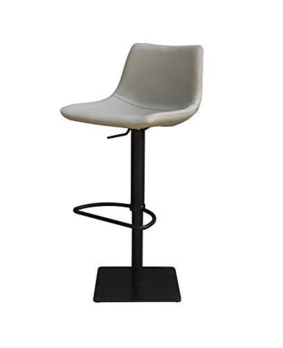 Meubletmoi Tabouret de Bar Simili Gris Clair - piétement réglable Noir Mat - Premium Collection & Design Contemporain Industriel - Boreal