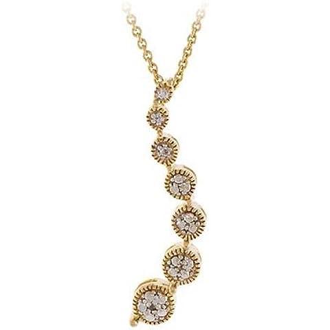 18 K oro sobre plata diamante acentuado colgante de viaje