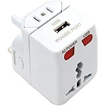 Quantum Abacus Adaptador universal de viaje con puerto de carga USB, todo en uno, conveniente para más de 150 países, color: blanco - Mod. JT-2003-W