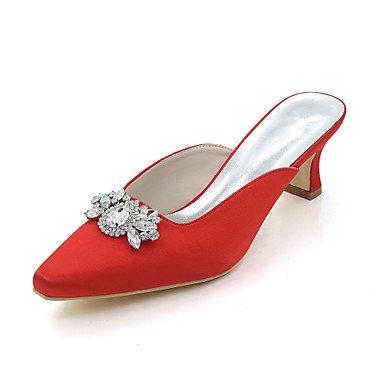 Wuyulunbi@ Scarpe donna raso Primavera Estate della pompa base scarpe matrimonio punta quadrata strass per la festa di nozze & sera un Champagne blu rosso Rosso